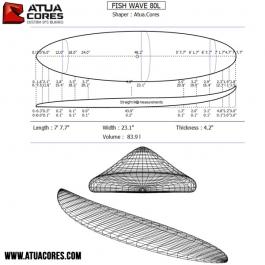 Pain pré-shapé Windsurf FISH WAVE 80L